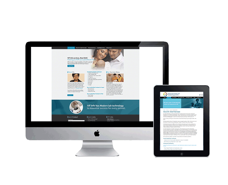 website design for ivf infertility clinic in delhi
