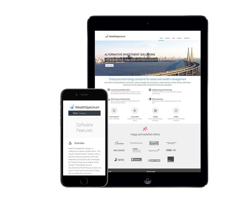 website design for wealth management solution provider